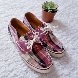 Pink Plaid Sperry Loafers with Laces Size 8.5